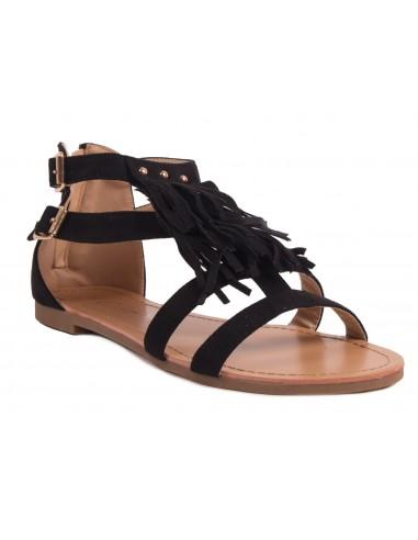 Sandales femme à franges grandes pointures aspect daim et semelle cuir