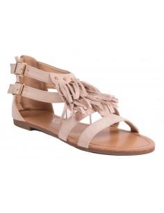 Sandales femme à franges bohème grandes pointures aspect daim semelle confort