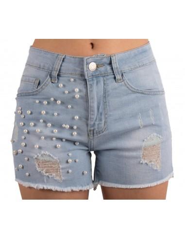 834ba4bae6 Short en jean femme à perles taille haute stretch