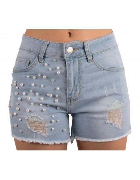 Short en jean femme à perles taille haute stretch