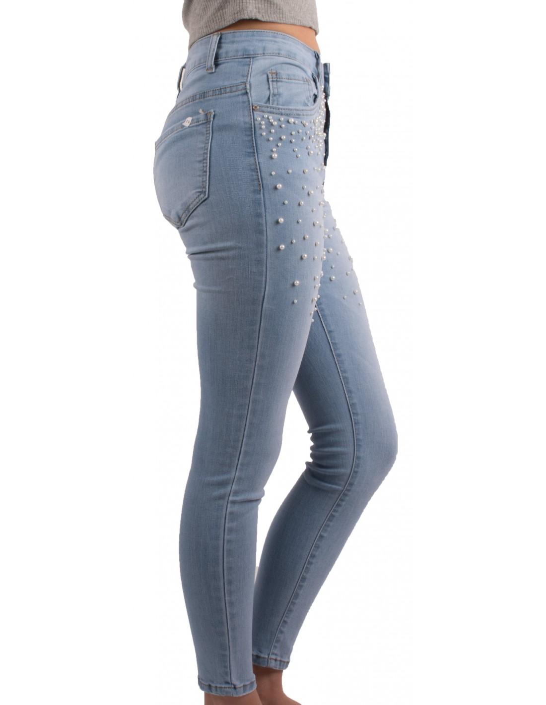 Perles Taille Femme Clair Coloris À Slim Haute Jean Bleu Ygybf76v