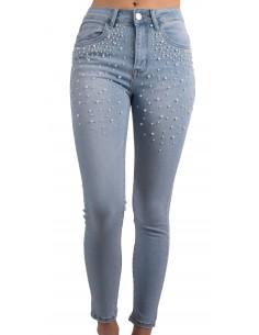Jean slim femme taille haute à perles coloris jean bleu clair