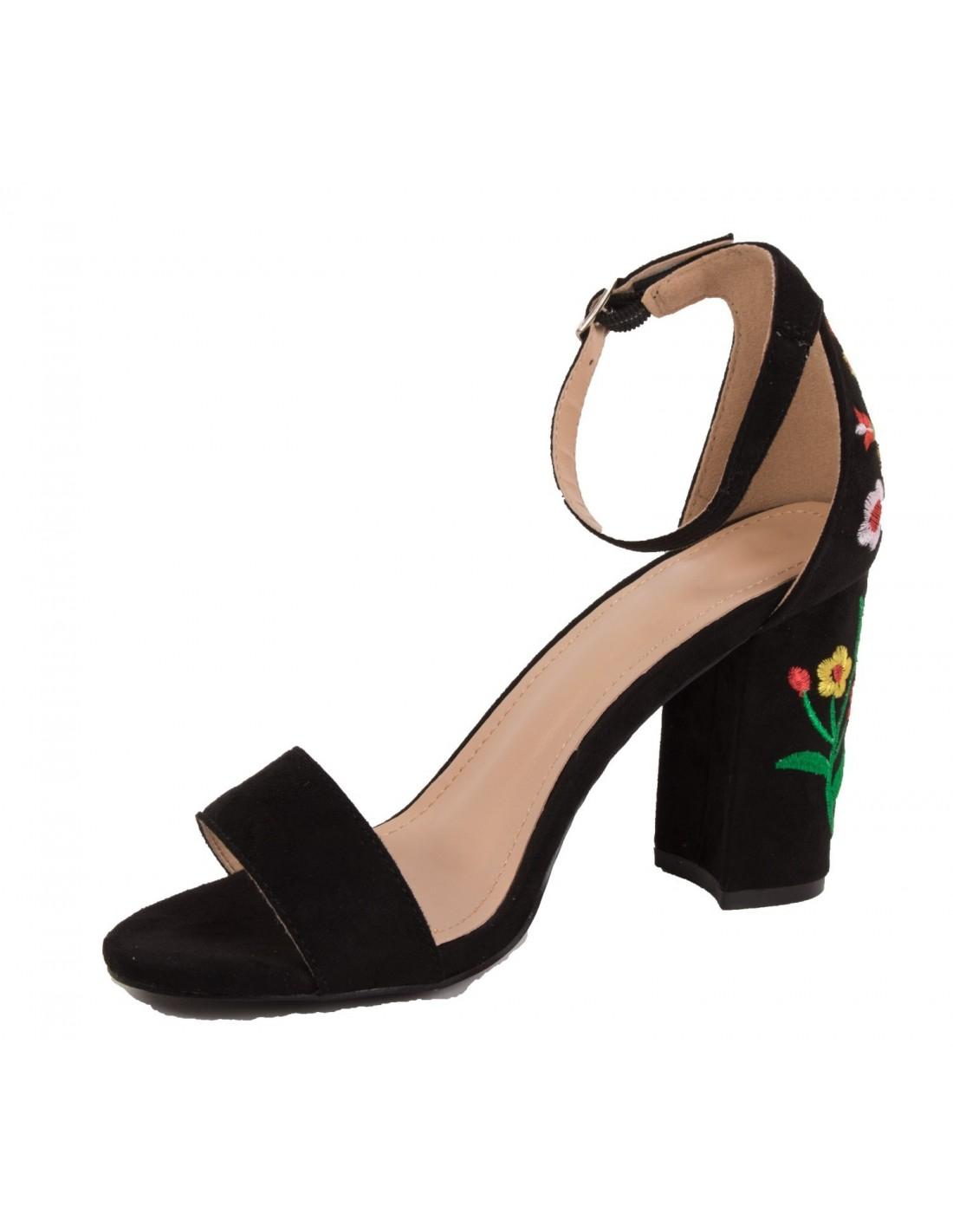 Sandales ouvertes femme à talon épais motif broderie fleur