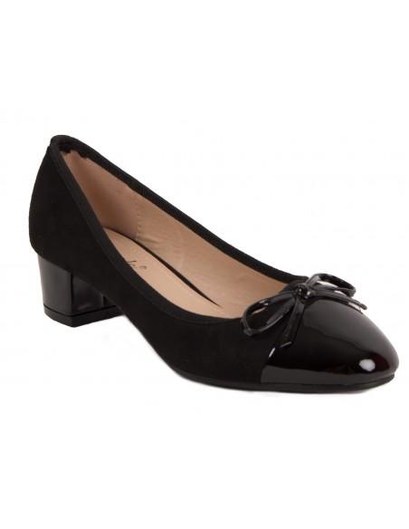 Ballerines noir à talon carré simili cuir & effet verni avec noeud fantaisie