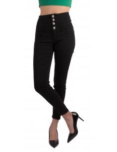 Jean slim femme taille haute noir avec 3 boutons montants style fourreau