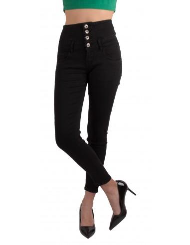 bas prix 55c9f 77bb2 Jean slim femme taille haute noir avec 3 boutons montants style fourreau