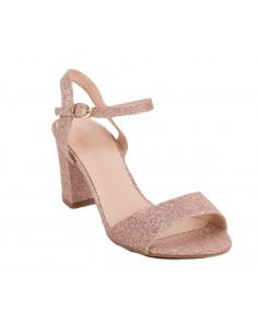 Sandales femme pailletées rose ou noir mariage à petit talon carré épais