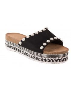 Sandales compensées femme type mule à plateformes avec perles & motif ethnique