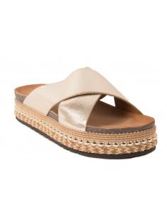 e27eeb7fa06f Mules plateformes femme lanière croisée semelle aspect liège sandales  compensées