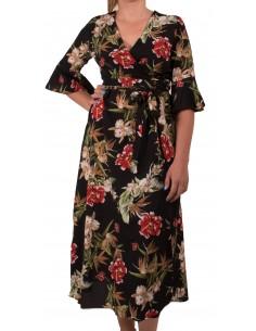 Robe longue à fleur forme cache coeur ceinture à la taille