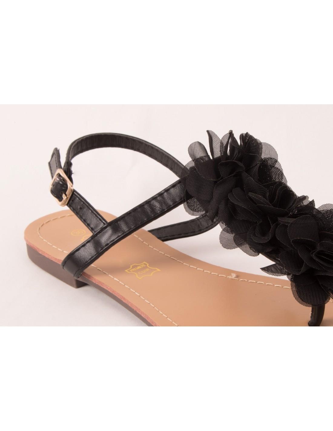 af568a0376ef Sandales femme fleur noir mousseline à brides nus pieds semelle cuir