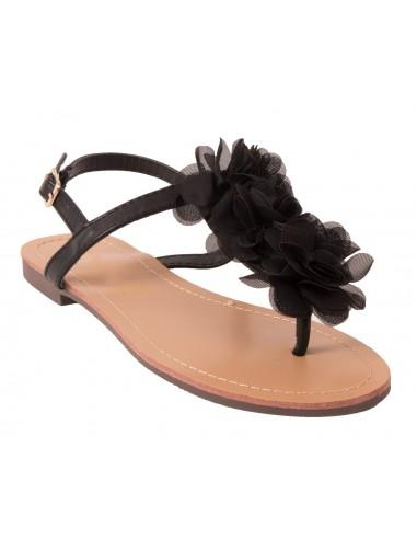 Sandales femme fleur noir mousseline à brides nus pieds semelle cuir