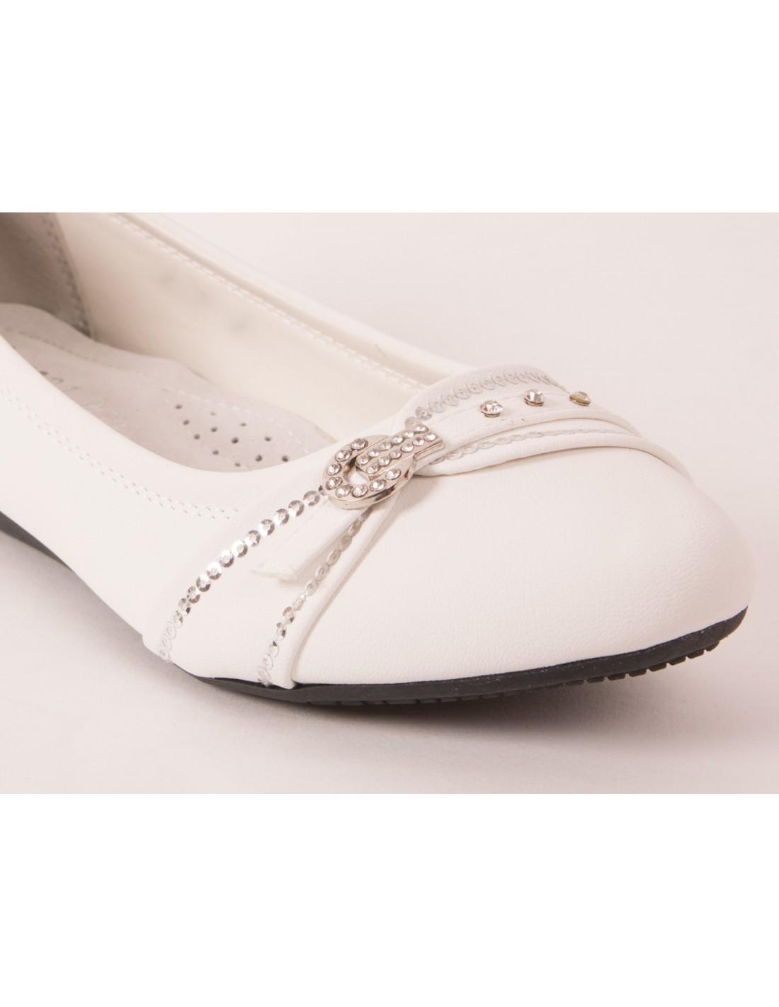 semelle Ballerines femme mariage blanches avec cuir à strass wZTlOkPXiu
