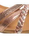 Sandales femme compensées petit talon bride cheville tressée & strass
