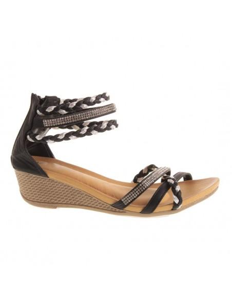 Sandales femme compensées petit talon bride cheville tressée & strass pas cher