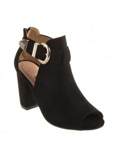 Sandales femme à talon carré épais et bout ouvert en simili daim