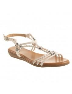 Sandales nus pieds femme à lanière bride tressée en simili cuir