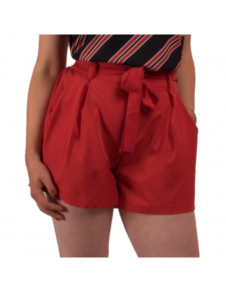 Short femme taille haute élastique ceinture noeud aspect fluide