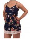Combishort femme fleurie fines bretelles & cuisse dentelle