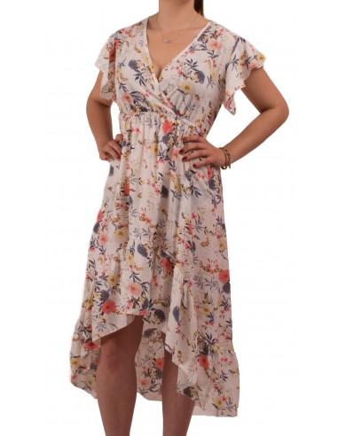 plus grand choix de remise spéciale de ramassé Robe longue fleurie forme cache coeur manches courte