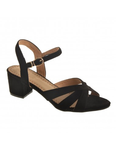 Sandales femme petit talon carré 4 cm à bout ouvert en simili daim avec bride réglable pour grandes pointures