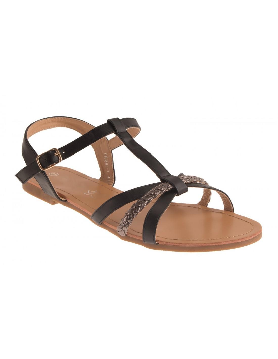 Sandales nus pied femme lanière noir & argent semelle cuir