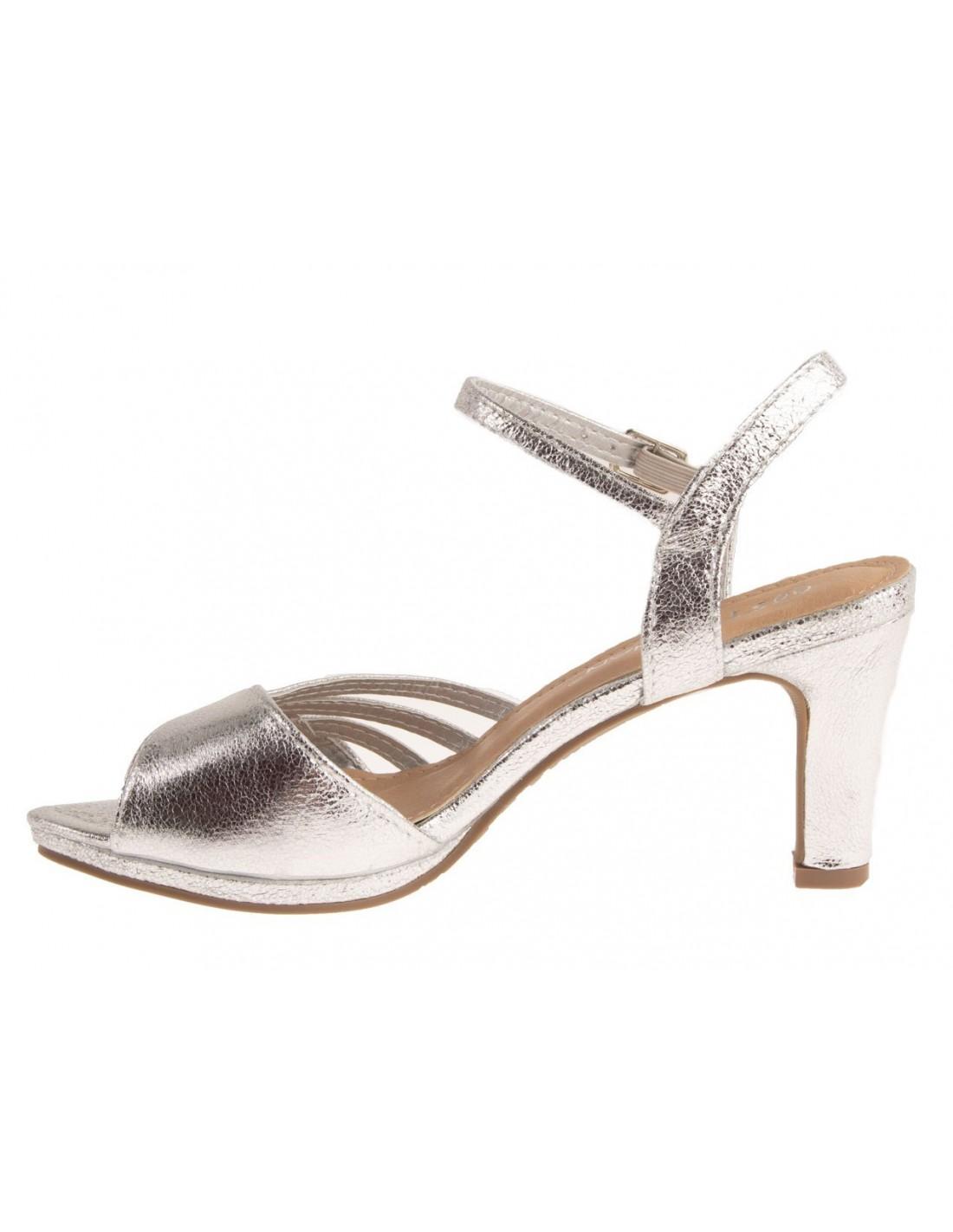 Chaussures mariage femme argentées brillantes à petit talon