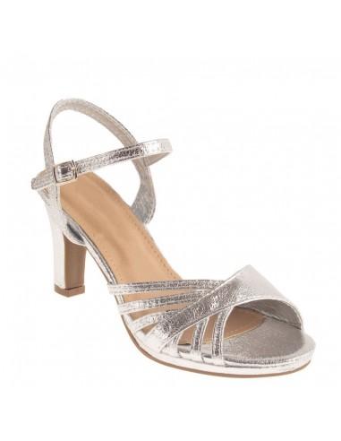 Chaussures mariage femme argentées forme sandales brillantes à petit talon épais & bout ouvert
