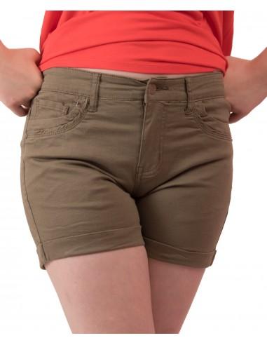 Short femme en jean kaki taille haute \u0
