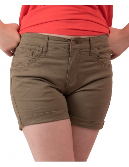 Short femme en jean kaki taille haute & stretch avec revers