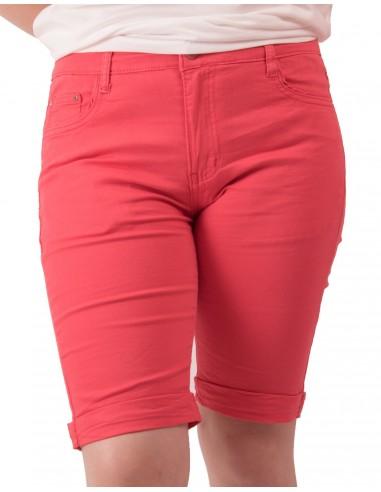 Bermuda femme en jean taille haute coton stretch & léger