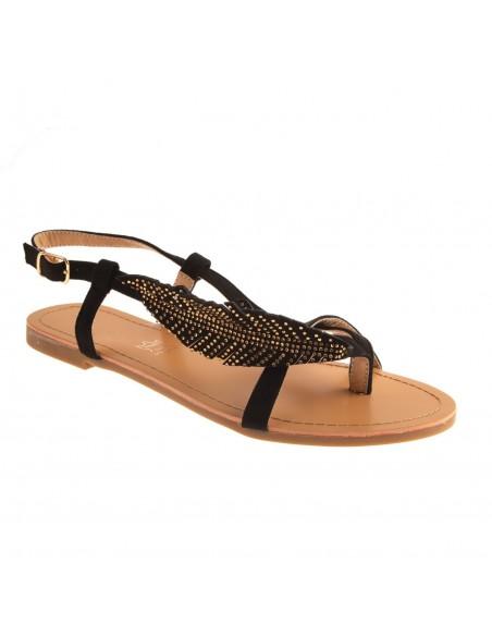 Sandales nus pied femme plume strass à lanière simili daim semelle cuir grandes pointures pas cher