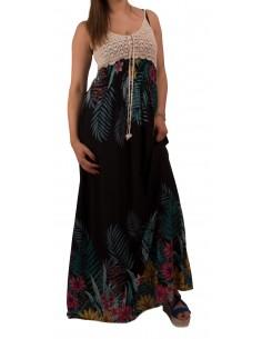 Robe longue à fleurs fine bretelle en crochet maille dentelle