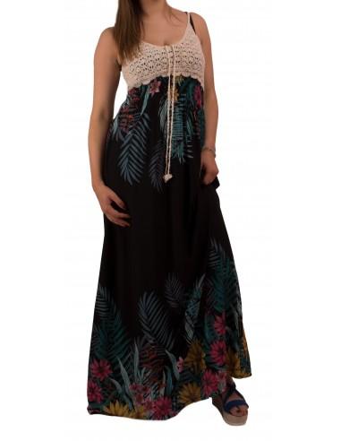 Robe longue à fleurs fine bretelle en crochet maille