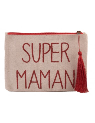 """Pochette écriture rouge pailleté """" Super Maman """" en toile fermeture zip & pompon tissu"""