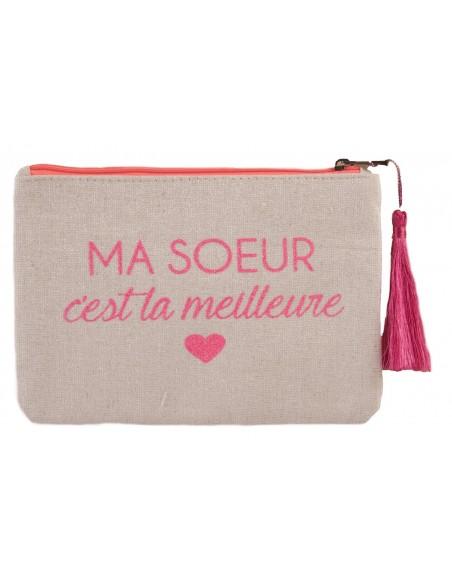 """Pochette écriture rose fluo """" Ma soeur c'est la meilleure """" en toile fermeture zip & pompon tissu"""