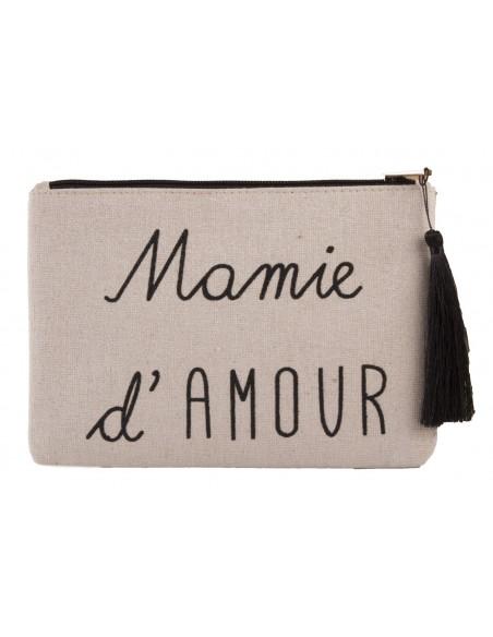 """Pochette écriture noir """" Mamie d'amour """" en toile fermeture zip & pompon tissu"""