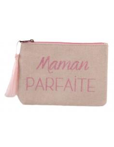 """Pochette écriture rose pailletée  """" Maman Parfaite """" en toile fermeture zip & pompon tissu"""