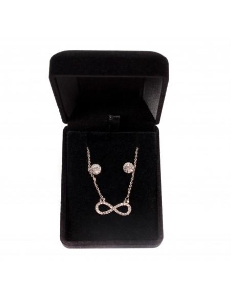 Coffret cadeau femme parure bijoux pendentif signe infini brillants & boucles d'oreilles assorties