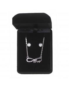 Parure de bijoux Collier et Boucle D'oreille Infini love strass - Coffret Cadeaux Femme