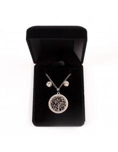 d9adc79ee0479 Parure de Bijoux avec chaine, pendentif cercle arbre strass et boucles  d oreille