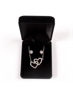 Parure de Bijoux avec Pendentif Cœurs entrelacés, Chaine et Boucles d'oreilles