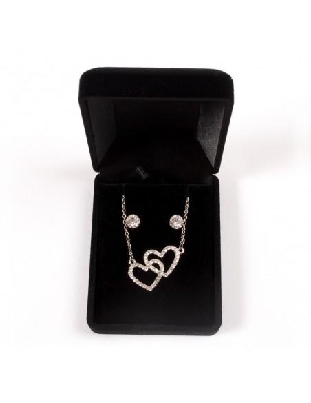 Parure de Bijoux Argentée avec Collier, Pendentif Cœurs entrelacé et Boucles d'oreilles