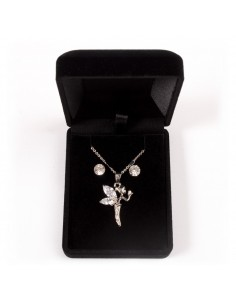 Parure de Bijoux avec Pendentif Fée Clochette, chaine et Boucles d'oreilles