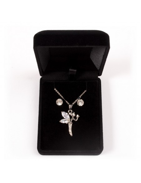 Parure de Bijoux Argentée avec Collier, Pendentif Fée Clochette et Boucles d'oreilles pas cher bijouterie fantaisie femme et fil