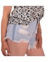 Short femme en jean clair taille haute effilé à frange déchiré