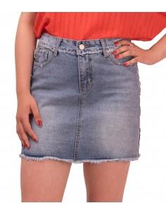 Jupe femme en jean courte avec bandes bleu blanc rouge latérales