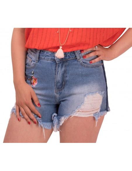 Short femme en jean broderie fleur taille haute effilé à frange déchiré