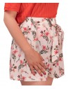 Short femme taille haute élastique blanc à fleurs rose ceinture noeud