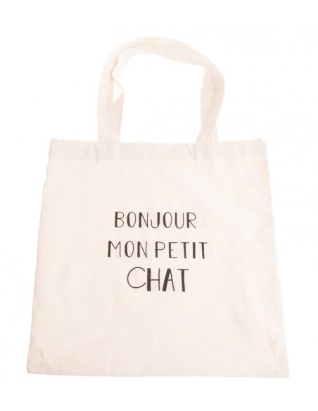"""Sac shopping en toile tote bag écriture humour """" Bonjour mon petit chat """""""